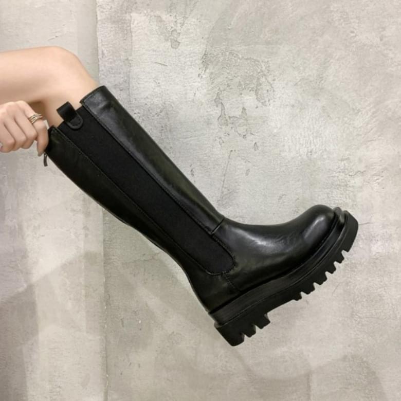 black slip-on the line boots