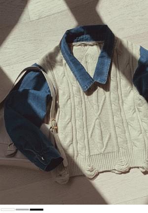 Knitwear denim shirt like layered coordination