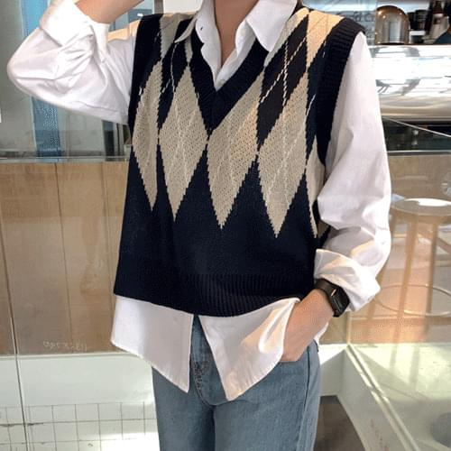 Double Sided Argyle Check Pattern Knitwear Over Vest Vest T#YW081