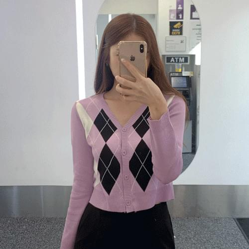 Diamond Knitwear V-Neck Argyle Long Sleeve Cardigan T#YW085
