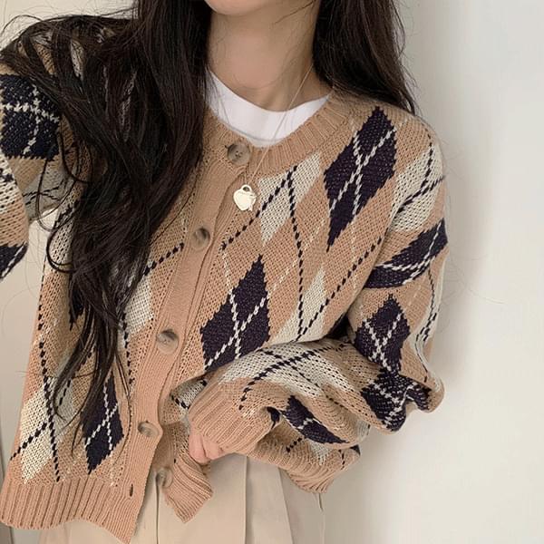wool diamond round neck cardigan 針織外套