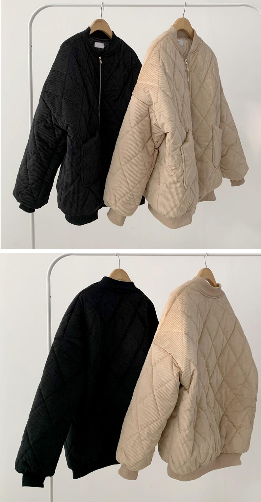 Wangbaksi Argyle quilted Padded Jacket 2color