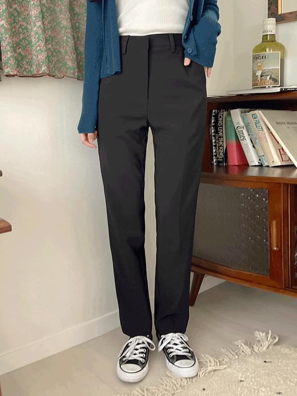 Try it on, straight fit thick slacks - 3color