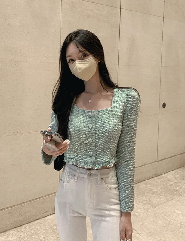 테브트위드크롭 blouse