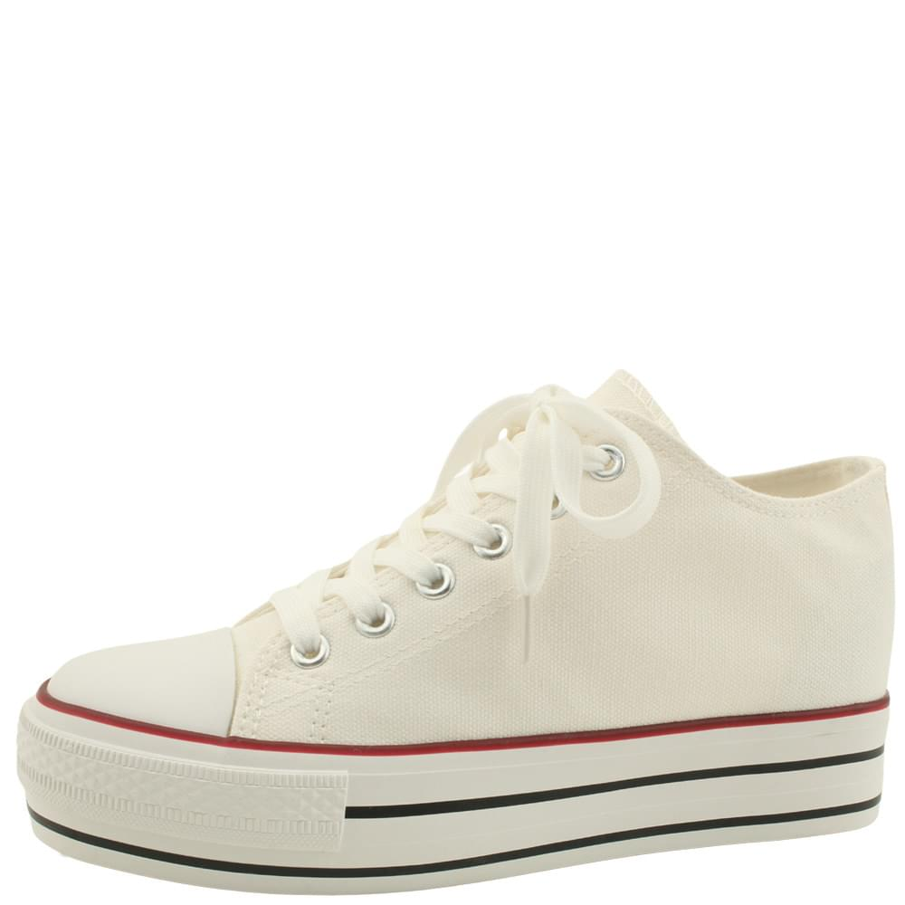 Canvas Shoes High Heel Sneakers 5cm White