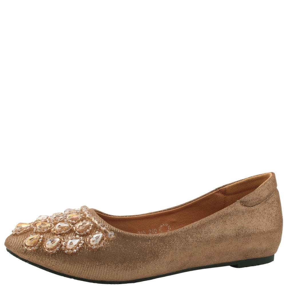 Beaded wedge heel tall flat shoes beige