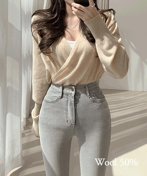 Relaxing Time Wool 50% V-Neck Wrap Long Sleeve Knitwear