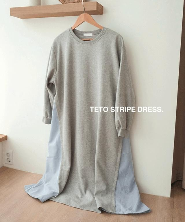 Big Size 55-120 Teto Stripe Color Matching Dress