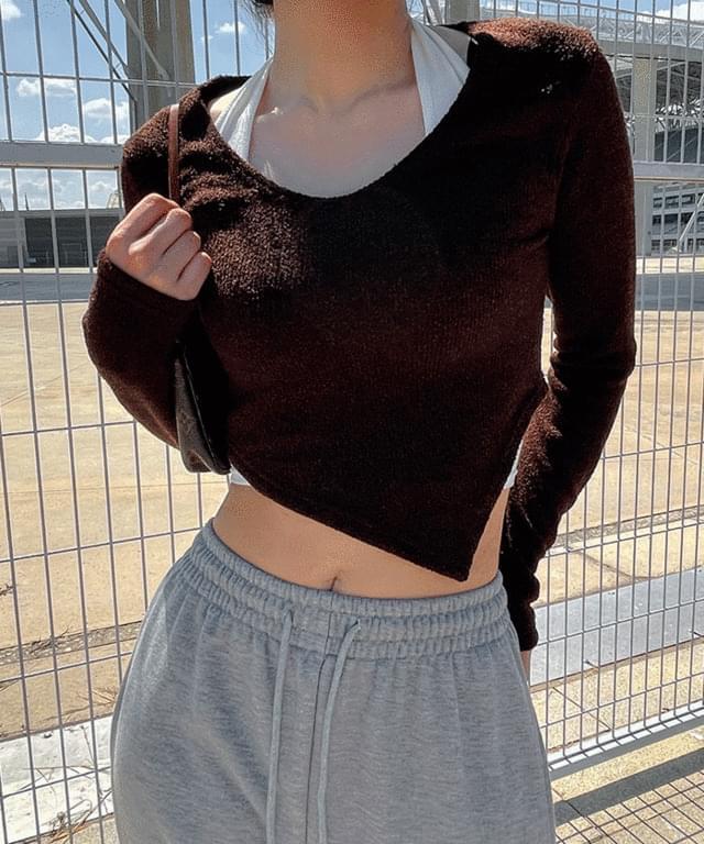 Ev Unbal V-Neck Knitwear Tee