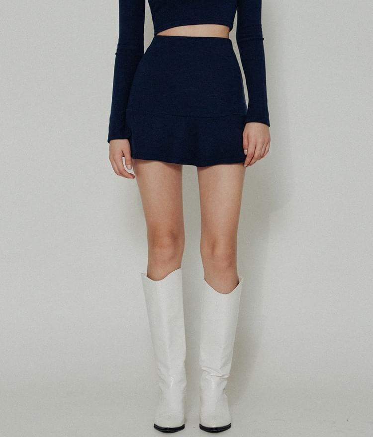 HIDENavy Flared Mini Skirt
