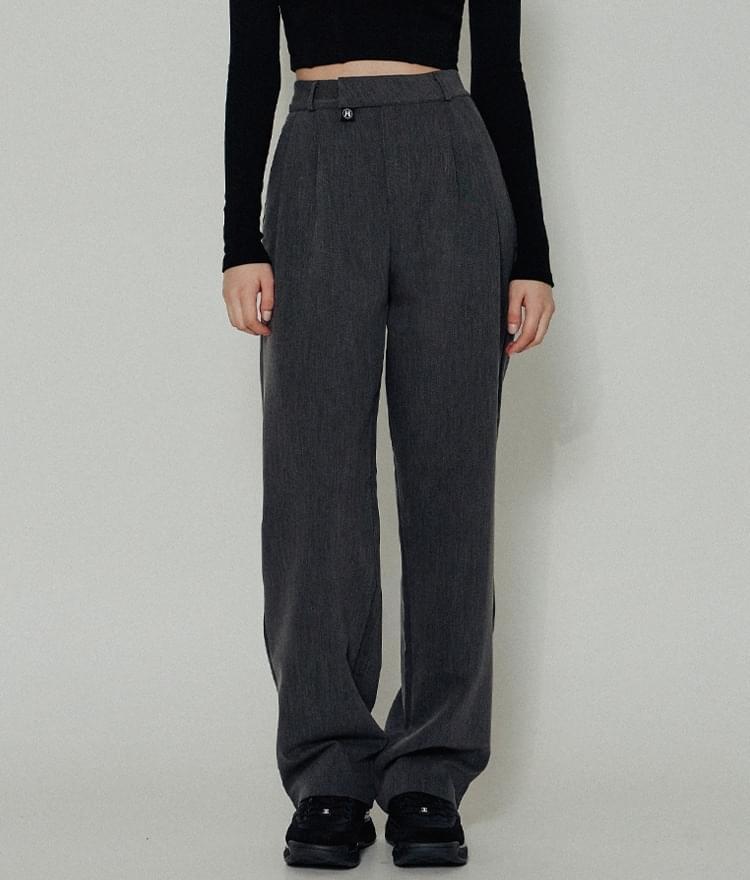 HIDEHigh-Rise Charcoal Pants