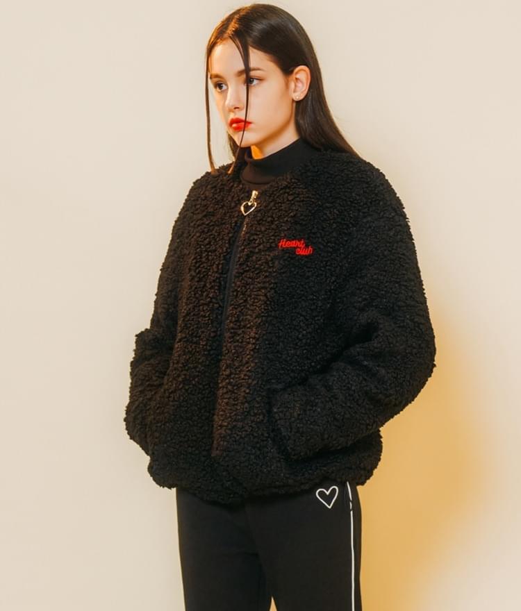 Heart Fleece Zip-up Jumper (Black)