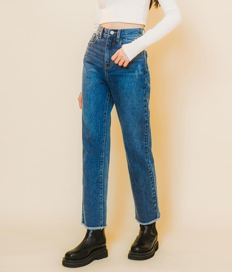HEART CLUBFrayed Hem Blue Denim Pants (人氣商品配送延遲) 牛仔褲