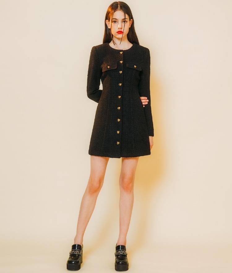 HEART CLUBA-Line Black Tweed Dress