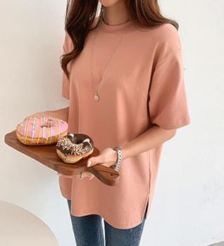 Fleece-lined Plain Short Sleeve T-shirt #109241