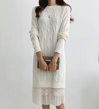 Emotional Knitwear Lace Dress #38093