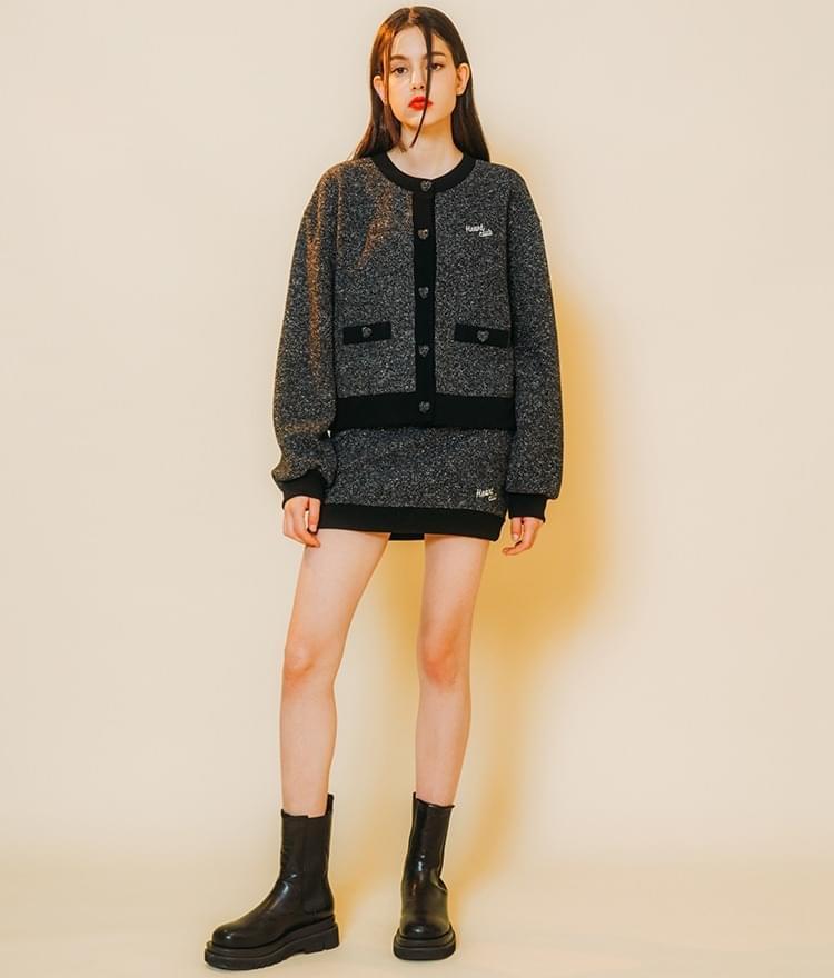 Heart Tweed Coloration Cardigan  Heart Tweed Coloration Skirt (Black)SET