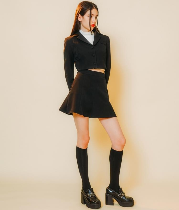 Heart Crop Jacket  Heart Line Flare Skirt (Black)SET
