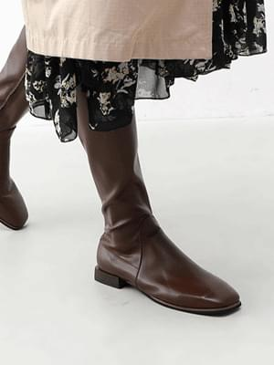 Square nose slim fit daily low heel long boots 11105