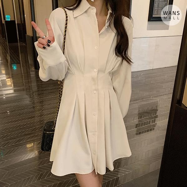 op5928 Raynor Pleated Shirt Dress 及膝洋裝