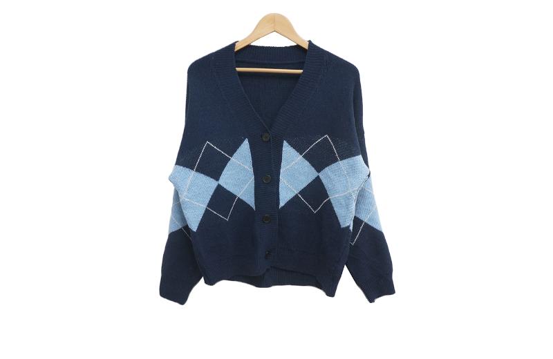Loose-fit Argyle Knitwear Cardigan