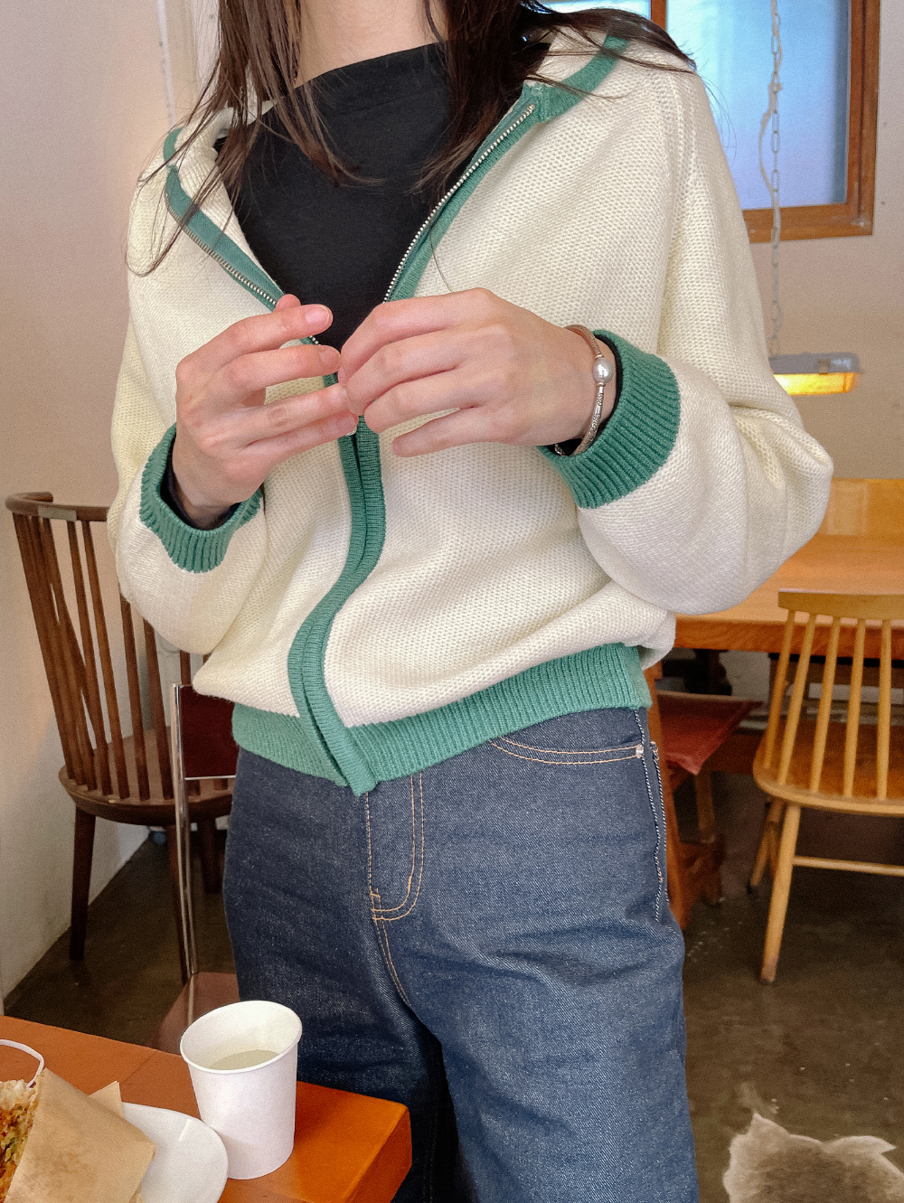 Lycan Color Matching Knitwear Zip Up Cardigan