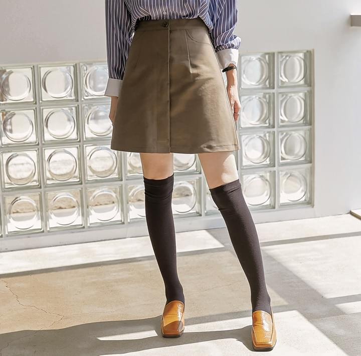 Concealed Button Placket Skirt