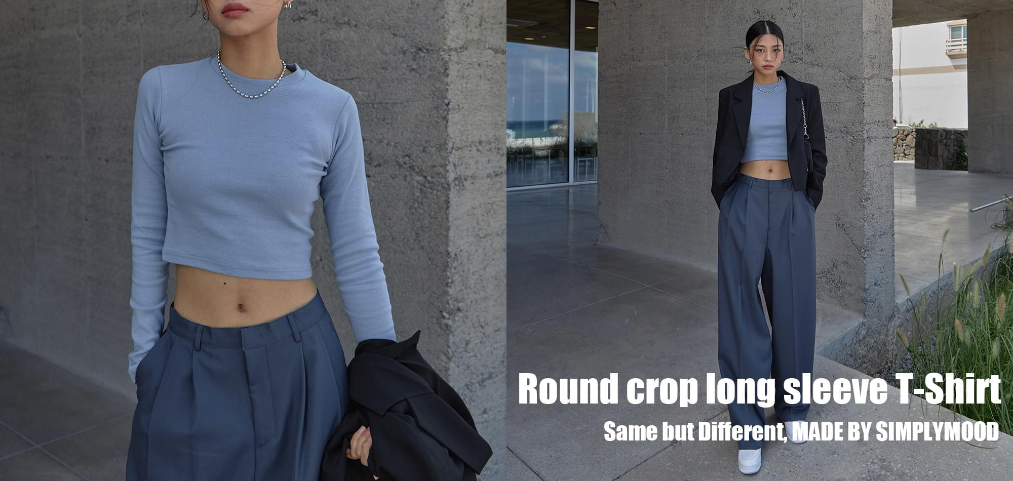 round crop long sleeve t-shirt