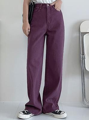Dyed Pig Faded Wide Denim Pants_Burgundy