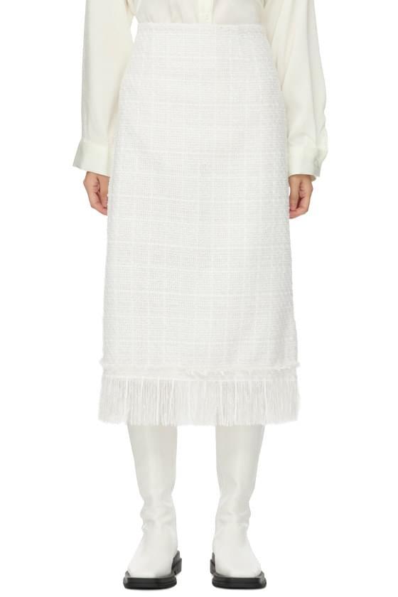 with tweed fringe long skirt