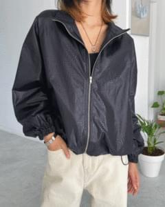 coated string zip-up Jacket