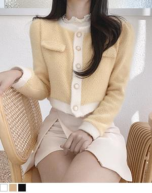 Ticket color matching cropped tweed cardigan