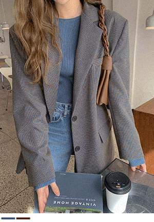 Overfit check jacket for love at first sight