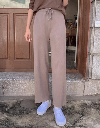 Chalangzan Ribbed Wide Knitwear Straight Pants
