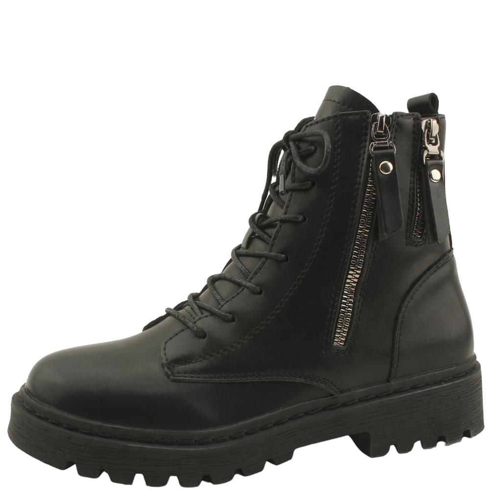chic flat walker boots black