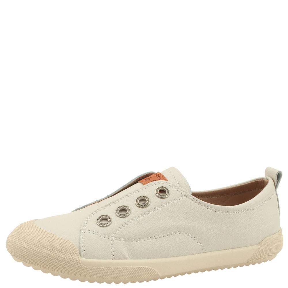Cowhide Slip-On Flat Soft Shoes Beige