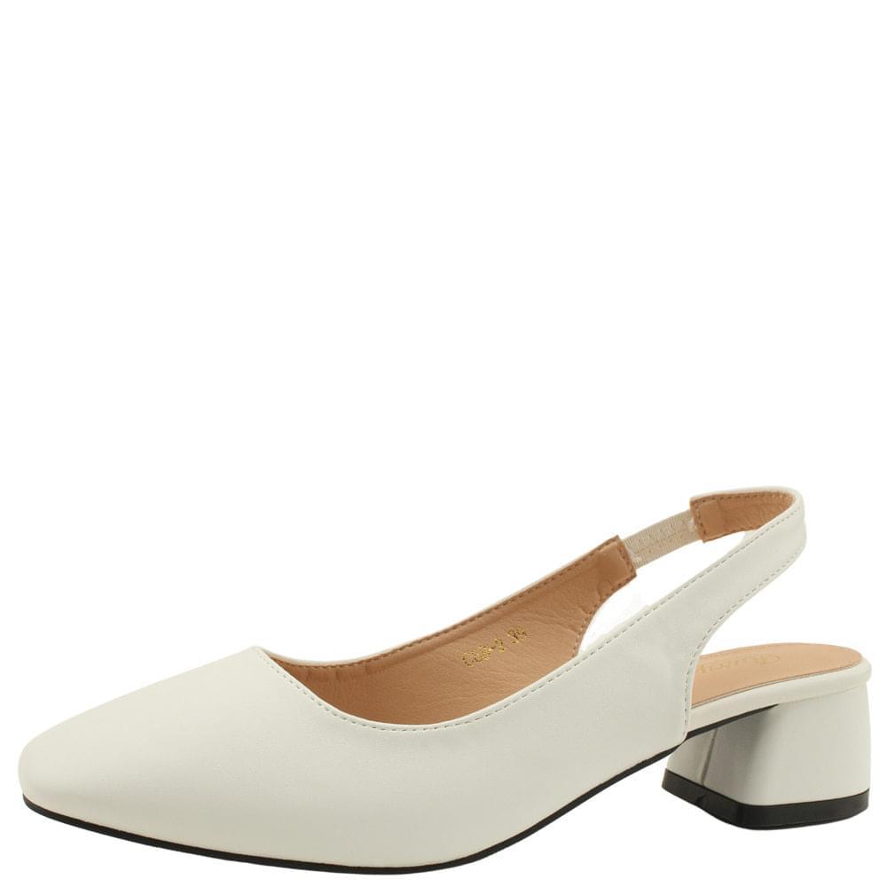 Square Toe Middle Heel Slingback Pumps White