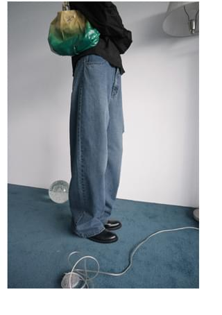 side cut-off denim pants (foggy blue)