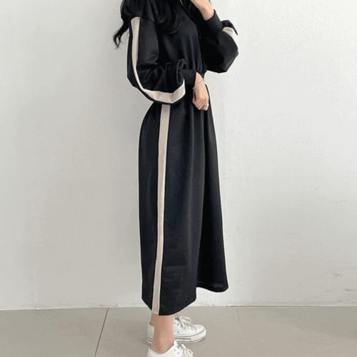 Kuanku slim fit banding color matching hooded long Dress