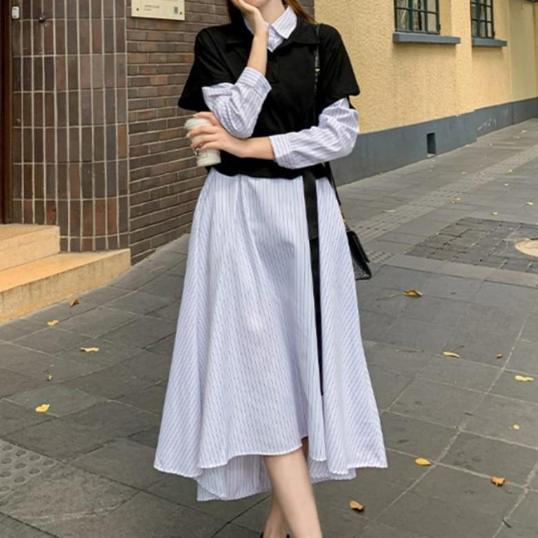 French Shirt Vest Long Dress