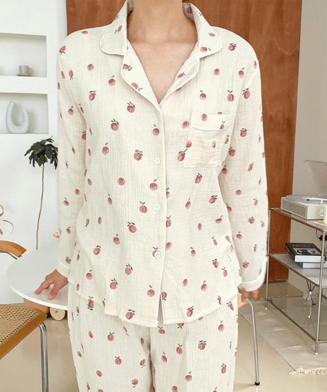 Big Size 55-77 Peach Yoru Pajama Set