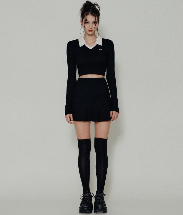HIDE Collar Crop Top HIDE Flare Band Skirt (Black)SET (Delayed delivery)