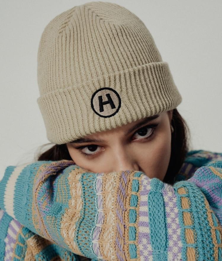 HIDEBeige Embroidered Accent Knit Beanie