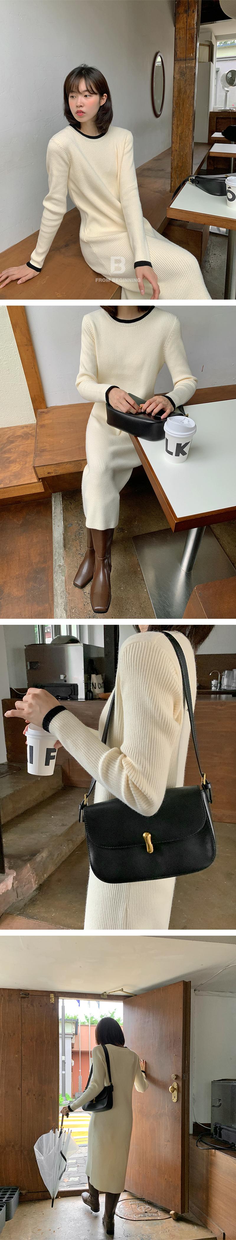 Stick Buckle Cover Leather Shoulder Bag