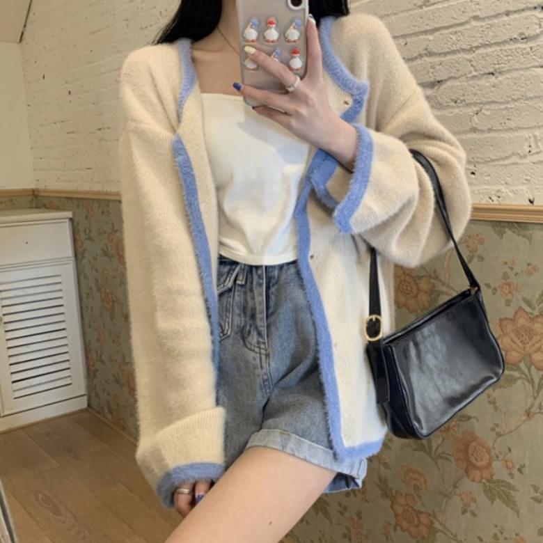 soft color line pocket cardigan
