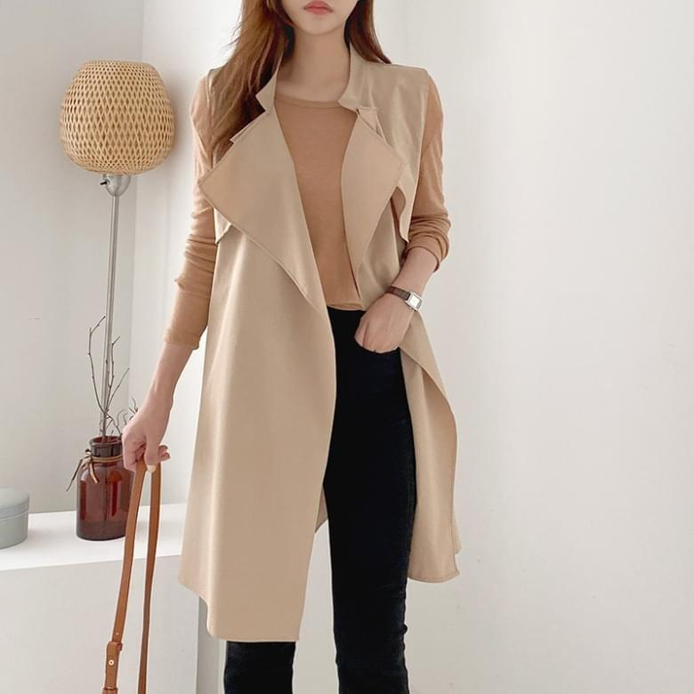 Natural Fit Shawl Trench Vest Jacket