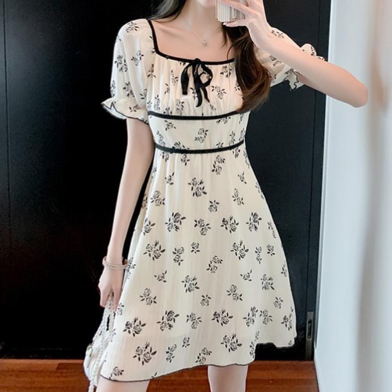 Flower color matching line ribbon Dress