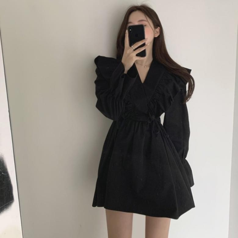 Wrinkle flare line mini Dress