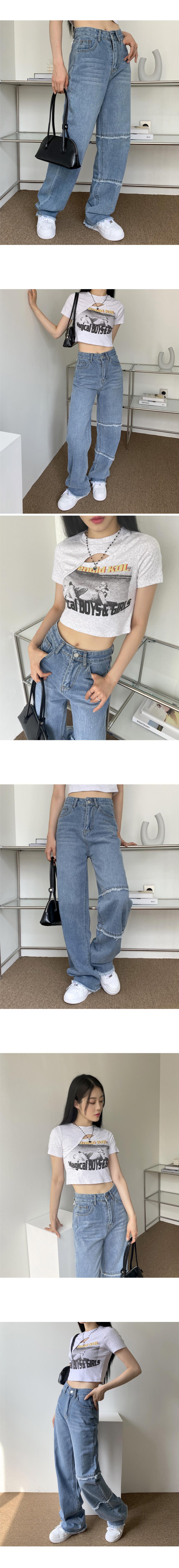 Grun Surgical Point Blue Wide Long Denim Pants