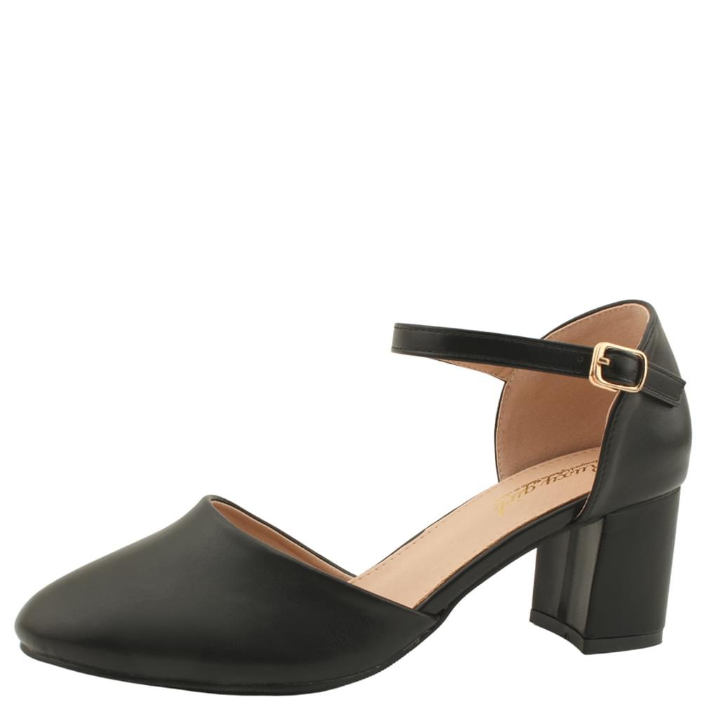 Round Nose Mary Jane High Heels 6cm Black